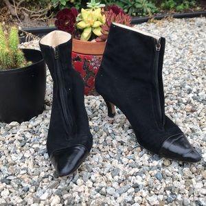 Manolo blahnik black suede zip booties sz 38.5